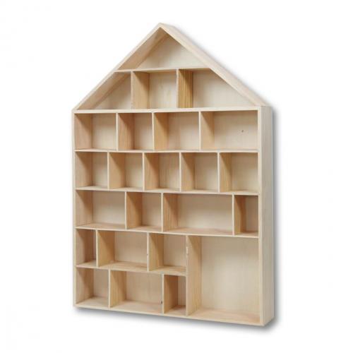 Calendrier de l 39 avent maison vitrine en bois - Calendrier de l avent en bois a decorer ...