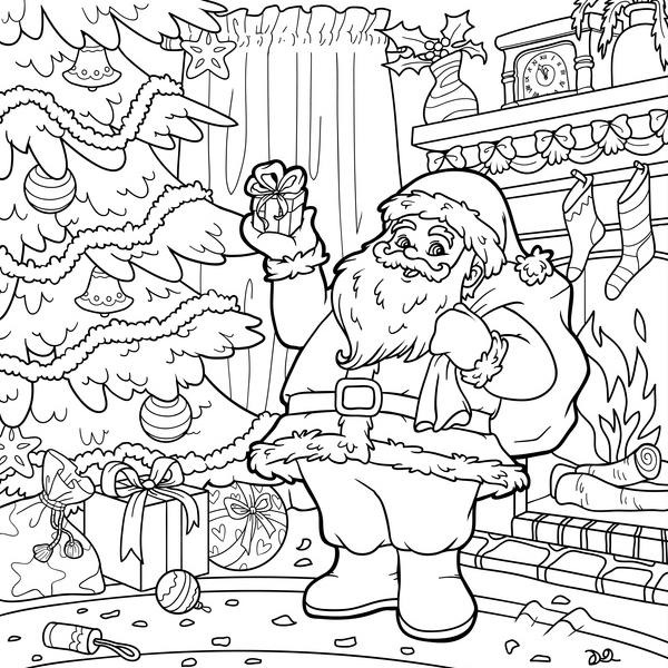 Coloriage Pere Noel Et Cadeaux