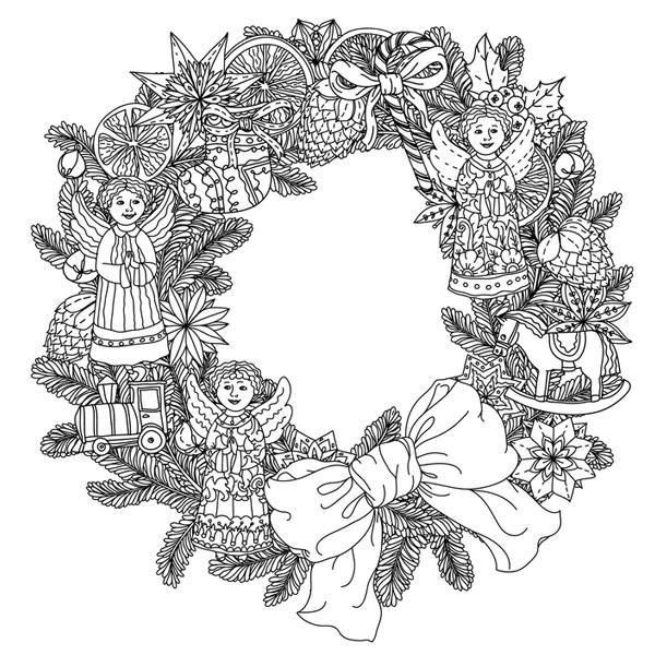 Mandala couronne de no l - Coloriage couronne ...